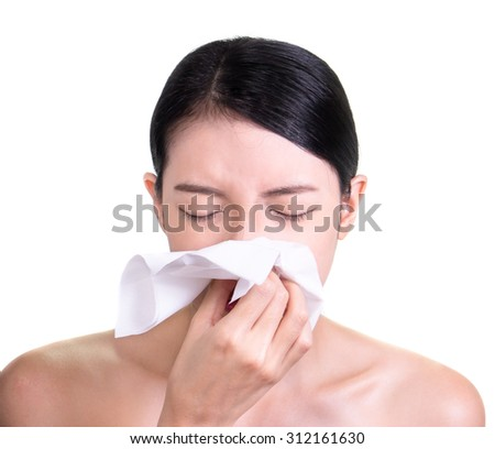 woman sick blowing nose isolated
