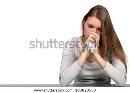 Woman sick with a cold - stock photo