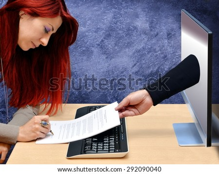 woman signing online credit card contract - stock photo