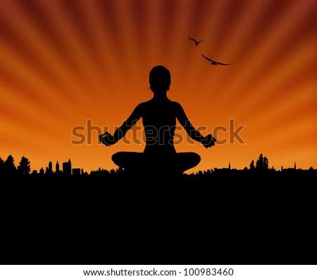 Woman Silhouette Doing Yoga - stock photo