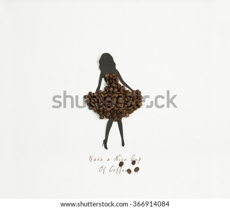 woman silhouette wearing a dress of coffee beans - stock photo