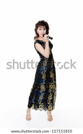woman sings in microphone - stock photo