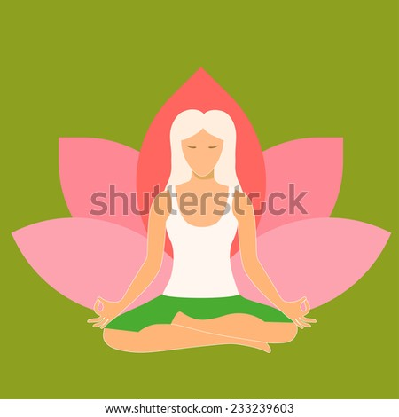 Woman sitting in yoga lotus position