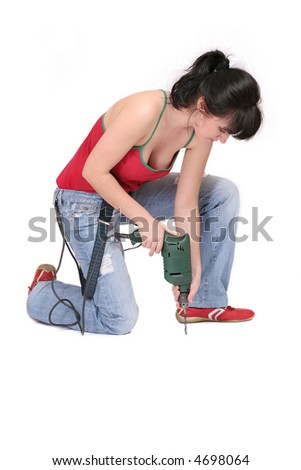 woman sitting with a drill on white background