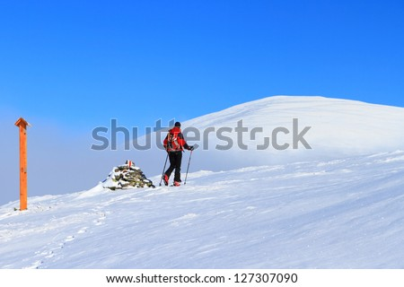 Woman ski touring above the clouds in Tarcu mountains, Romania
