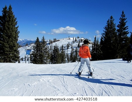 Woman skier enjoying the view of the mountains