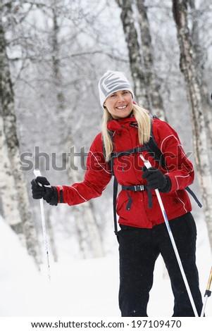 Woman skiing, Vasterbotten, Lapland, Sweden - stock photo