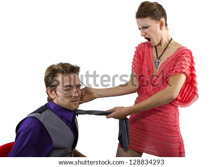 Woman slapping her boyfriend.  isolated on a white background