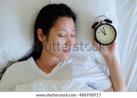 Woman sleeping and watch