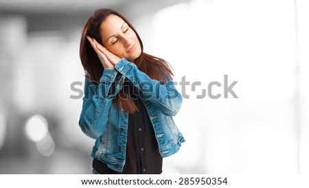 woman sleeping isolated