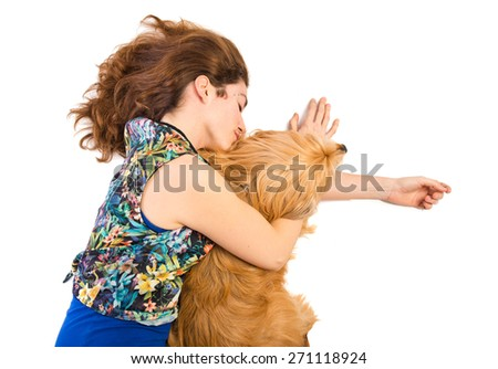 Woman sleeping with her dog - stock photo
