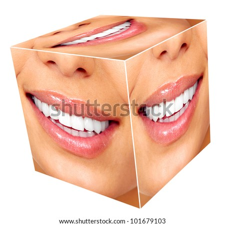 Woman smile cube collage. Isolated on white.