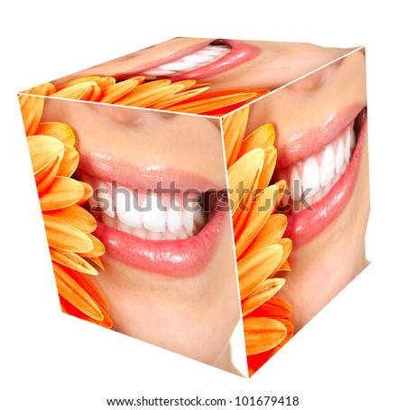 Woman smile cube collage. Isolated on white. - stock photo