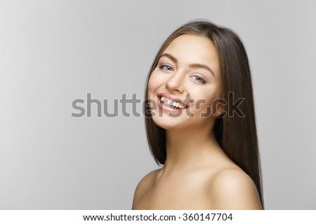 Woman smile. Teeth whitening. Dental care.  - stock photo