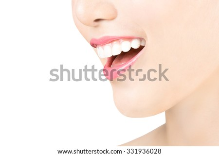 Woman smiling and her teeth have good health - stock photo