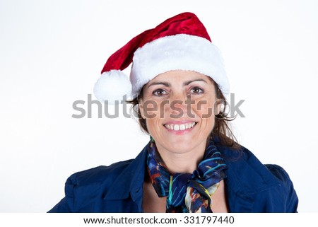 Woman smiling at the camera with christmas hat isolated