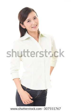 Woman smiling happy