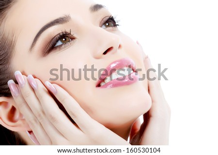Woman smiling, white background, copyspace - stock photo