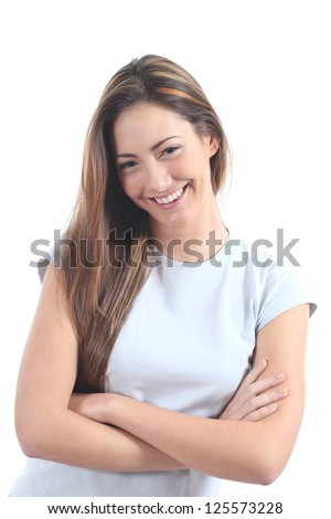 Woman smiling with a seductive glance on a white isolated background - stock photo