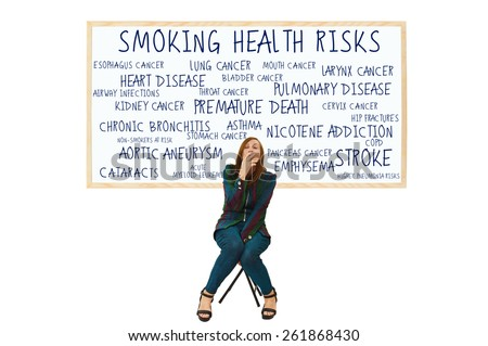 Woman Smoking Health Risks White Board: Lung Cancer, esophagus, larynx, mouth, throat, kidney, bladder, pancreas, stomach, and cervix, myeloid leukemia, COPD, bronchitis, emphysema, cataracts, asthma - stock photo