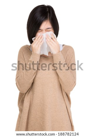Woman sneeze - stock photo