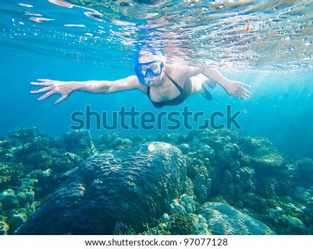 woman snorkeling in The Red Sea