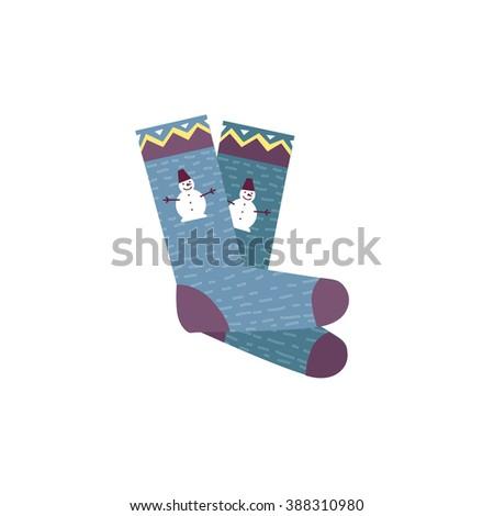 Woman socks, man socks. Flat design colorful socks. Socks with the original design. Socks icon. Isolated socks. Pair of socks. Socks with snowman.  socks. Logo socks - stock photo