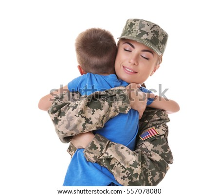 Woman soldier embracing with son on white background