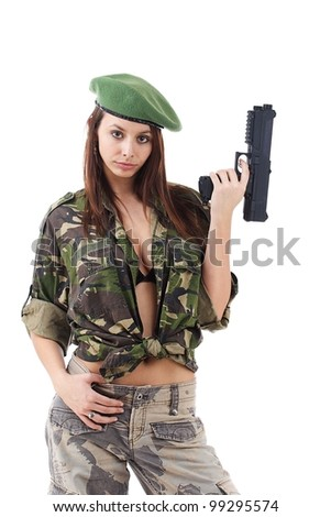 Woman soldiers with guns in green hat, isolated on white background