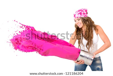 Woman splashing pink paint - isolated over a white background - stock photo
