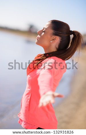 Woman Spreading Her Arms, Outdoors