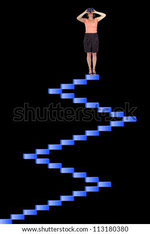 Woman standing on stairs and looking through the binoculars - stock photo