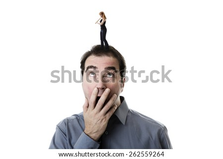 woman standing on top of a man head swinging a sledgehammer not very happy with him