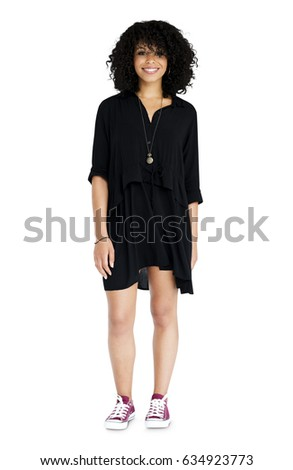 woman standing smiling studio portrait stock photo royalty free