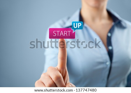 Woman start her startup business. Female investor accelerate start-up project concept. - stock photo