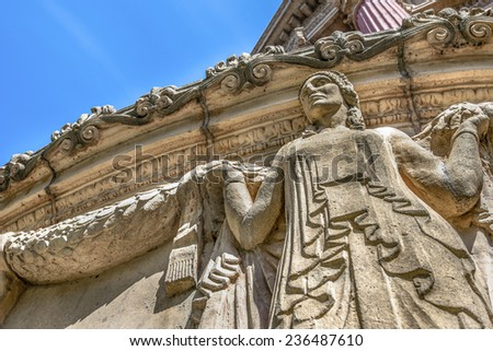 Woman statue at Palace of Fine Art, San Francisco - stock photo
