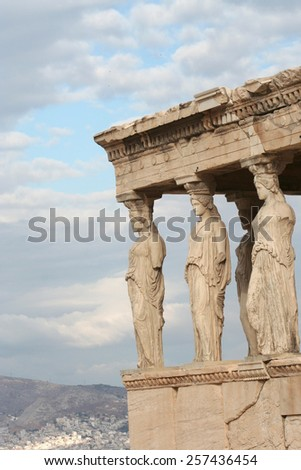Woman Statues of The Porch of the Caryatids at Acropolis - stock photo