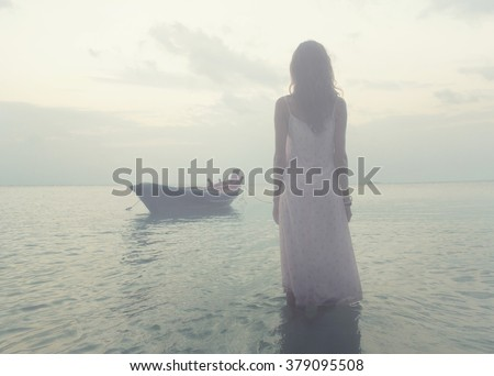 Woman stay in the water