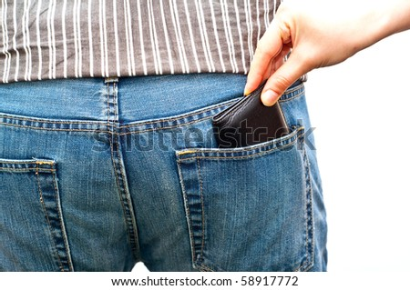 woman stealing a wallet from man's back pocket isolated on white - stock photo