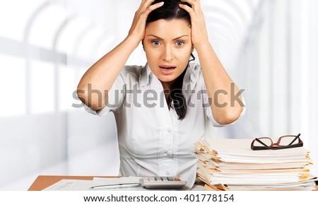 Woman stress. - stock photo