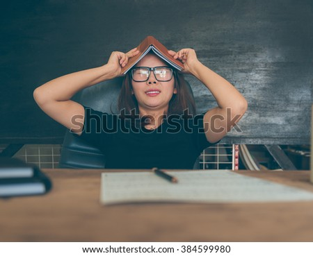woman stressed with headache - stock photo