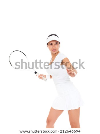 woman strike tennis racket isolated over white background - stock photo