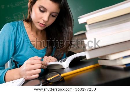 Woman studying - stock photo