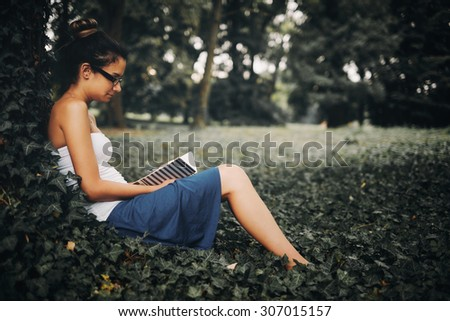 Woman studying outdoor