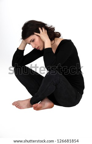 Woman suffering from depression - stock photo