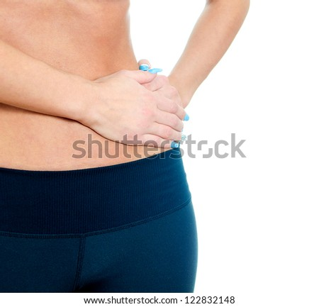 Woman suffering from pain in left side. Isolated on white - stock photo