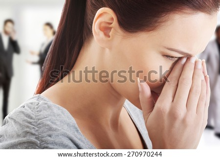 Woman suffering from sinus pain. - stock photo