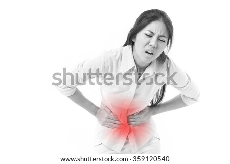 woman suffering from stomach pain, menstruation cramp - stock photo