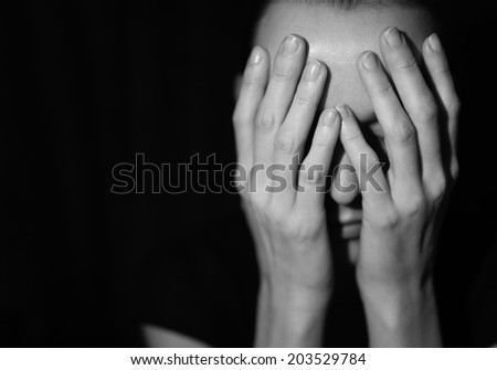 Woman suffering from stress and depression. - stock photo