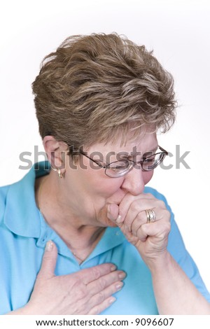 Woman suffering with a bad cough and cold - stock photo
